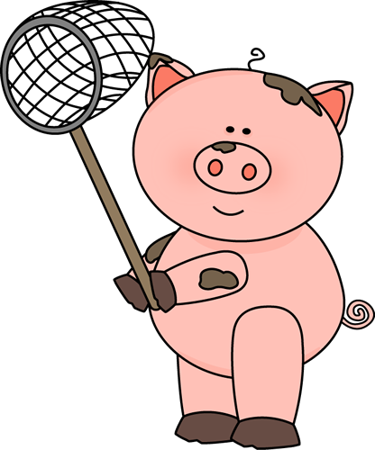 416x500 Pig In Mud Clipart