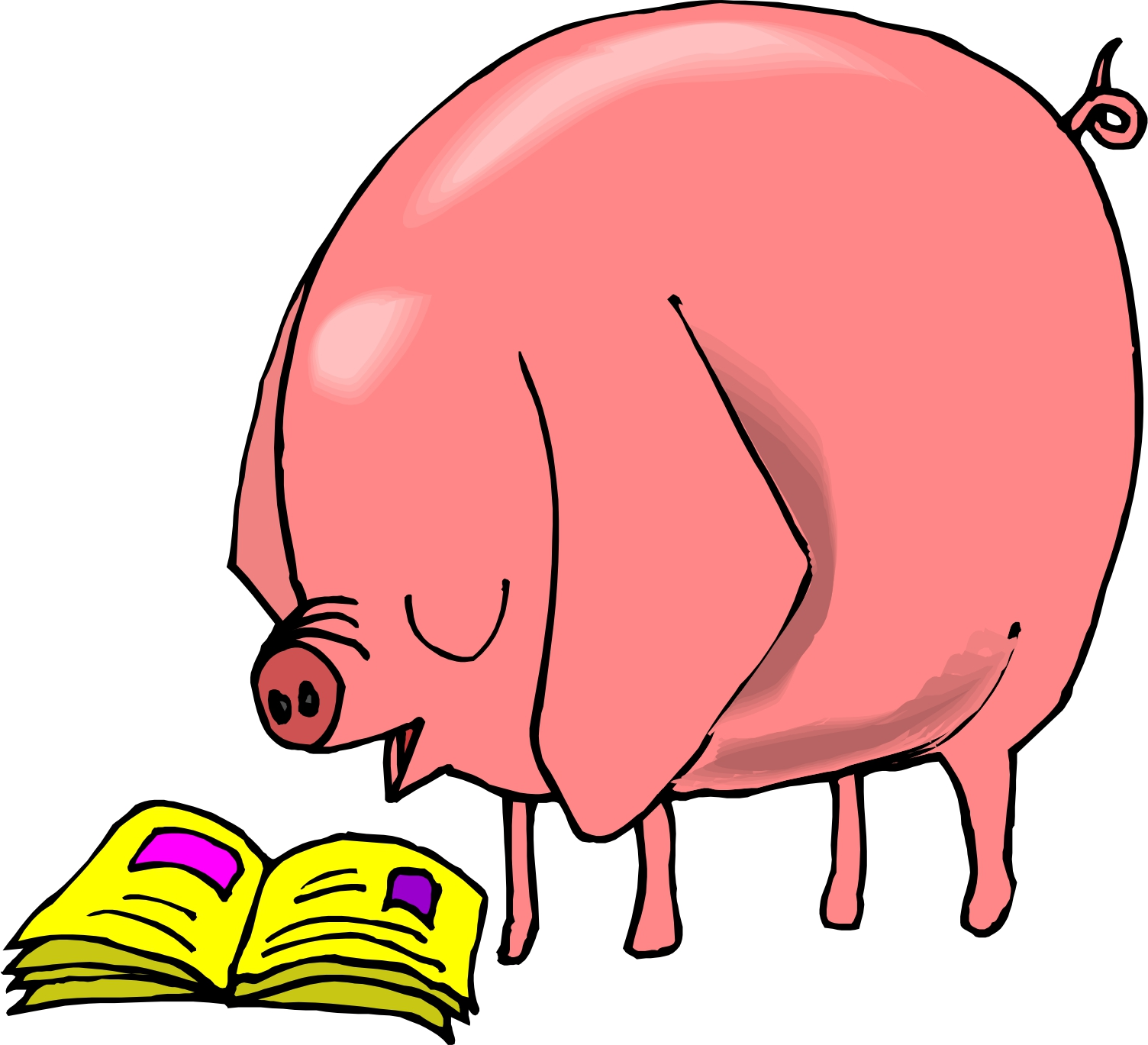 1504x1369 Pig Reading Clipart