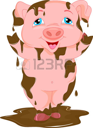 329x450 Cartoon Funny Pig Standing In The Mud Royalty Free Cliparts