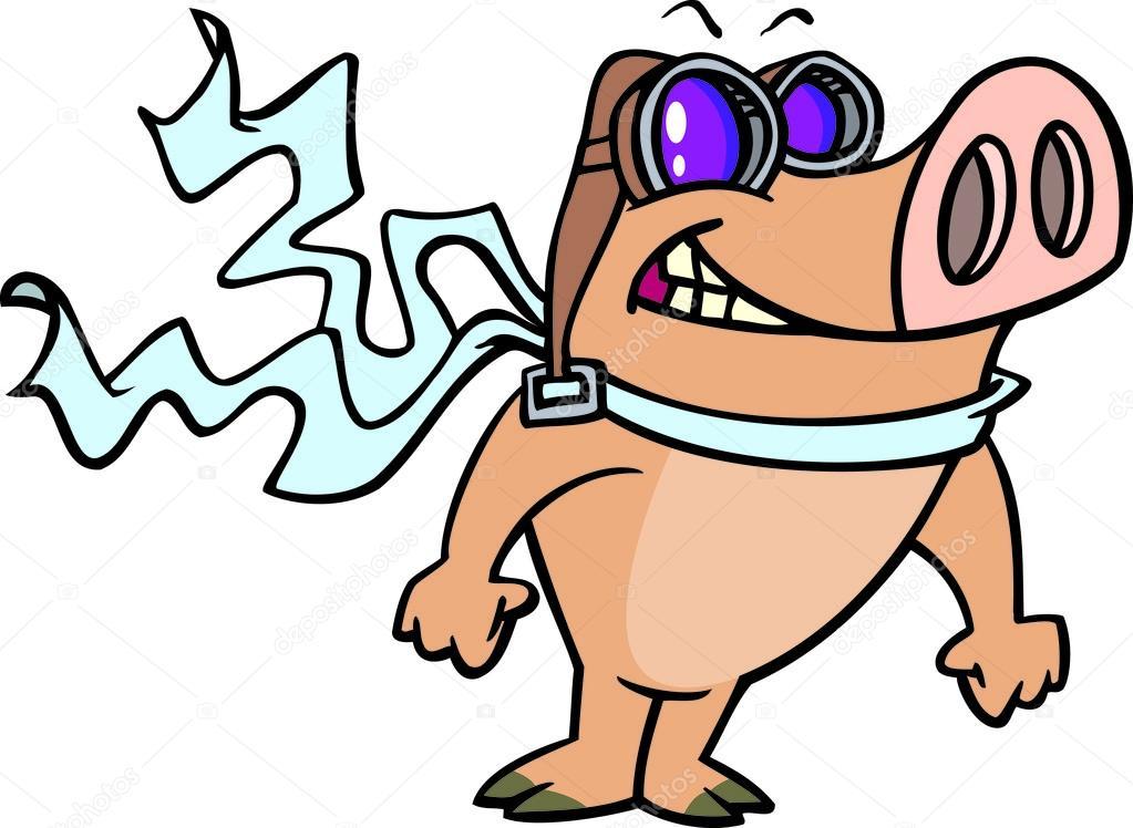 1023x748 Cartoon Pig Aviator Stock Vector Ronleishman