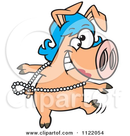 450x470 Pig In A Wig Clipart