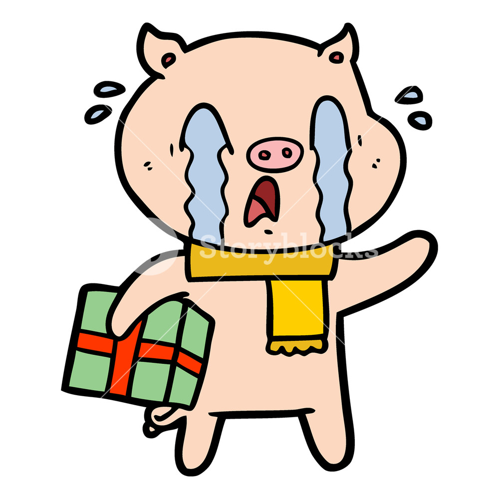 1000x1000 Nervous Cartoon Pig With Present Royalty Free Stock Image