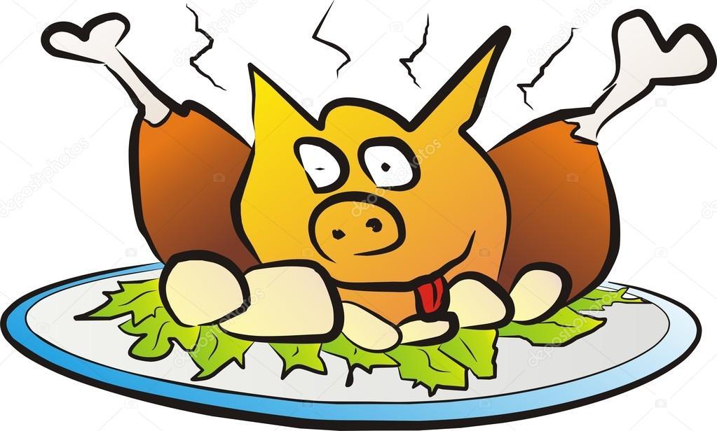 1023x616 Cheerful Roasted Pig On The Plate Stock Vector Baldyrgan