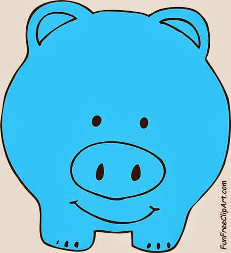 457x500 Blue Piggy Bank Clipart
