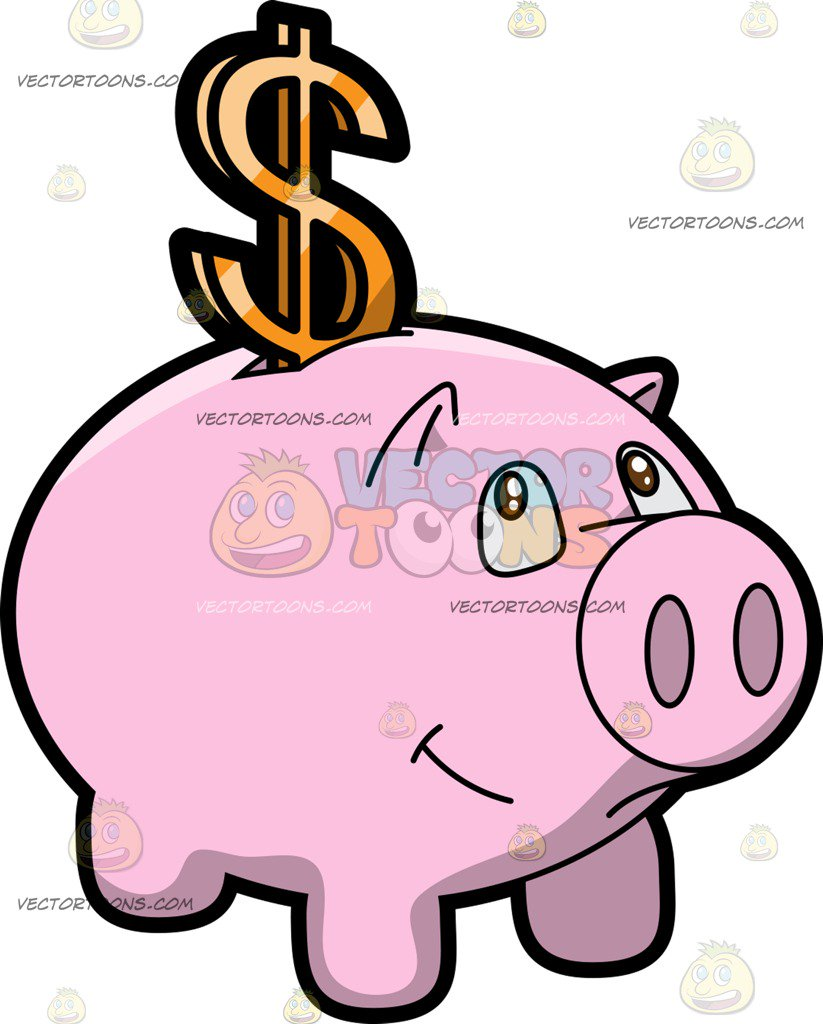 823x1024 A Piggy Bank Dollar Savings Cartoon Clipart