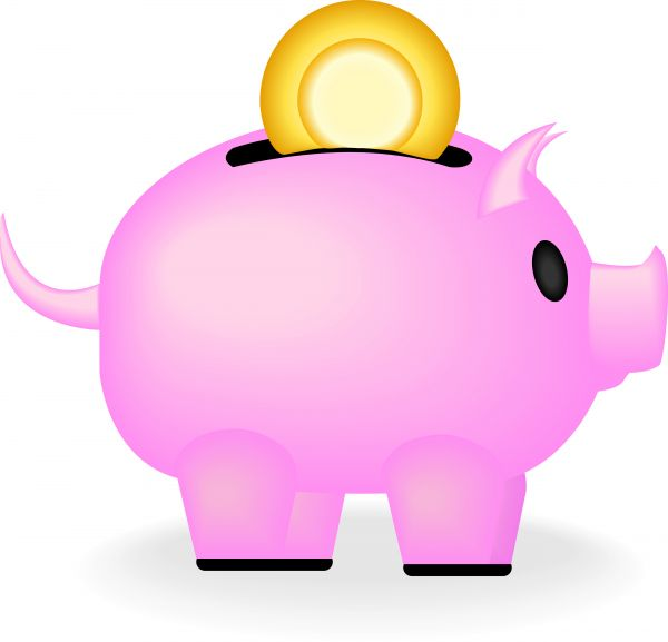 600x577 Vector Image Of A Pink Piggy Bank With A Coin Going In.