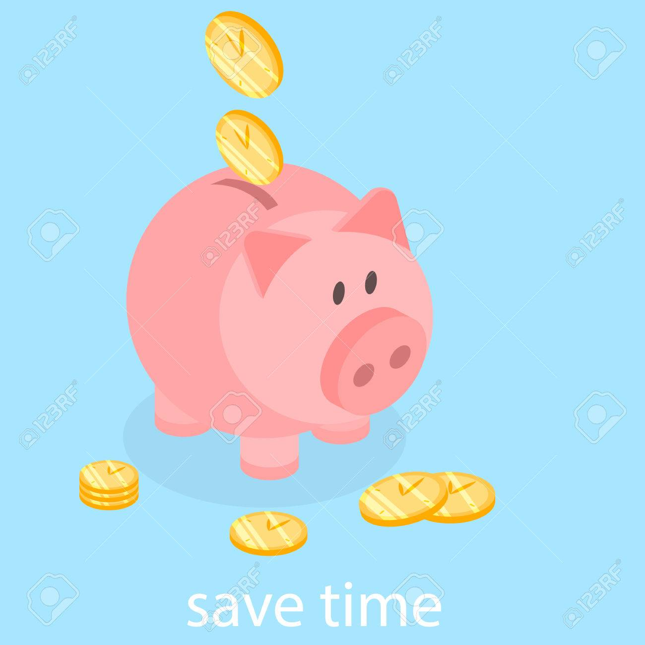 1300x1300 Time Is Money Piggy Bank. Save Time Flat 3d Illustration Royalty