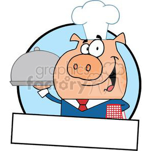 300x300 Royalty Free Bannner Of A Waiter Pig Serving Food On A Platter