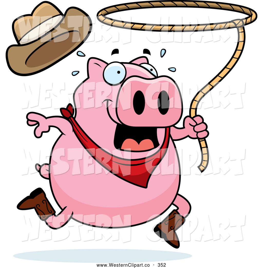 1024x1044 Vector Western Cliprt Of Chubby Pink Rodeo Pig Swinging