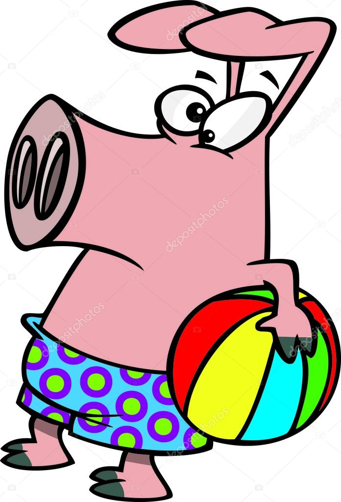 696x1024 Clipart Summer Pig Holding A Beach Ball