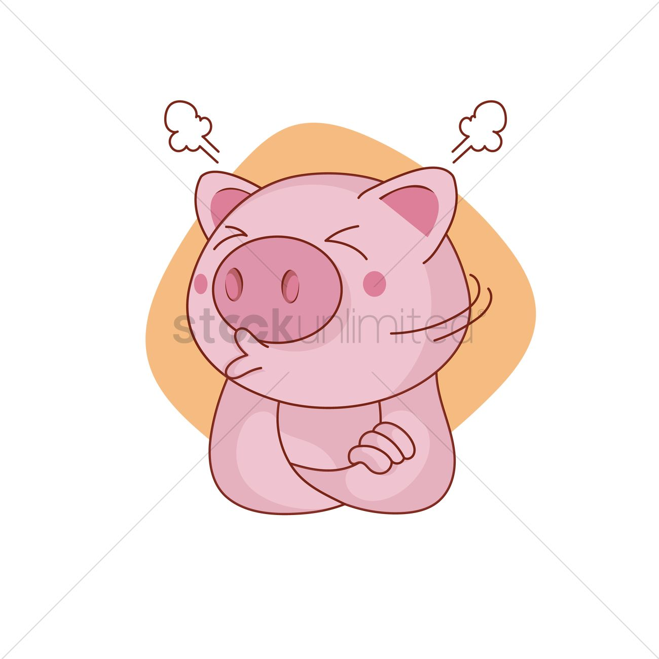 1300x1300 Pig Character Sulking Vector Image
