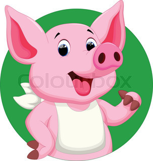 303x320 Cartoon Pigs Are Cute And Adorable Stock Vector Colourbox