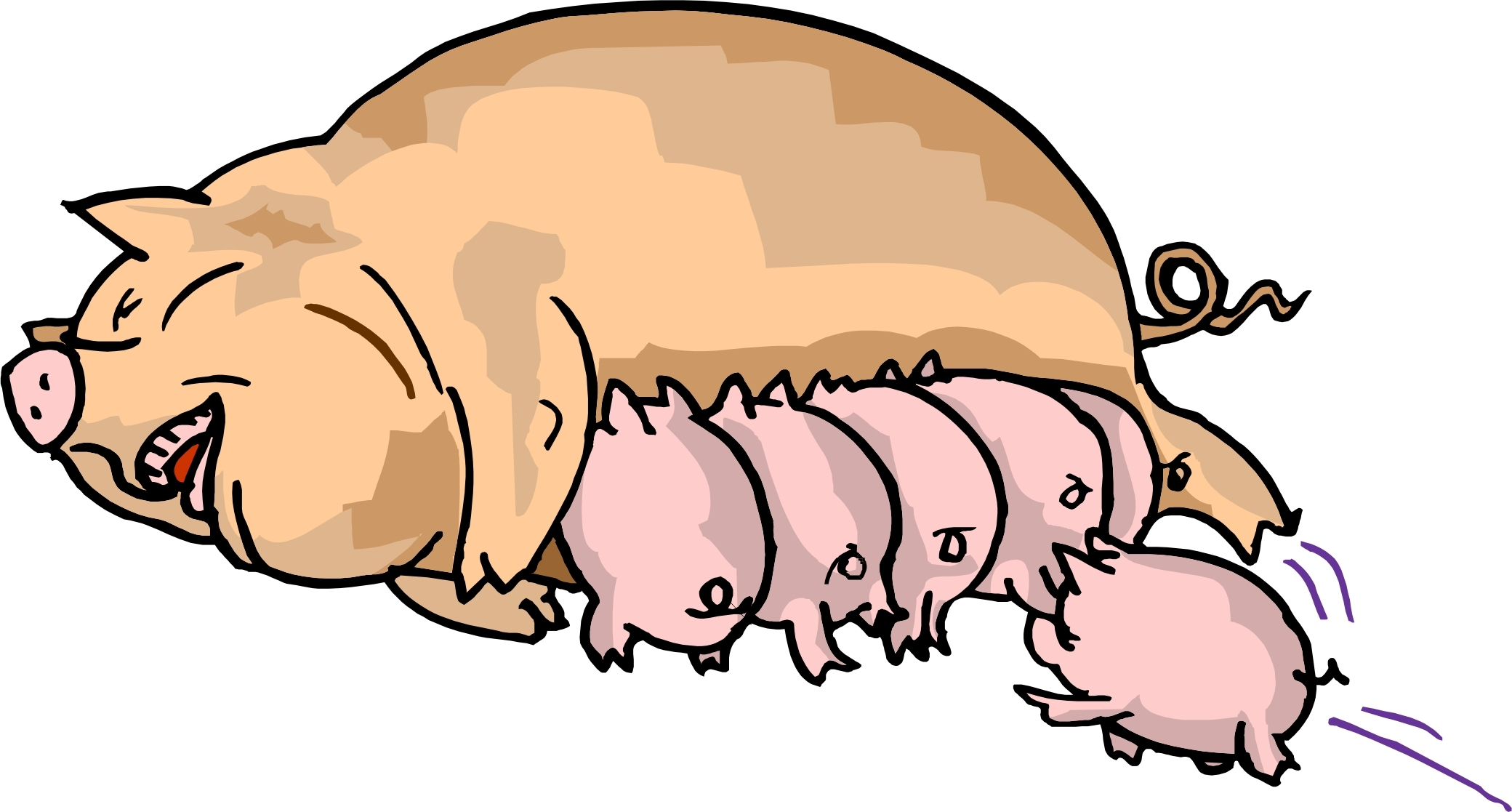 2080x1117 Pig And Piglet Clipart