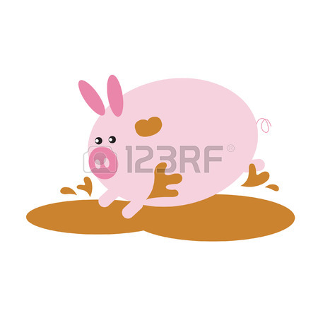 450x450 Pig Cartoon Resting In The Mud Royalty Free Cliparts, Vectors,