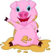 165x170 Pig In Mud Clip Art
