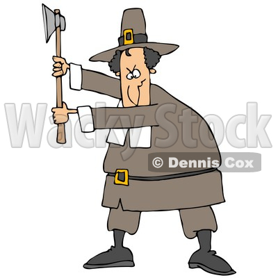 400x400 Illustration Of A Male Pilgrim In A Brown Hat And Clothes, Holding