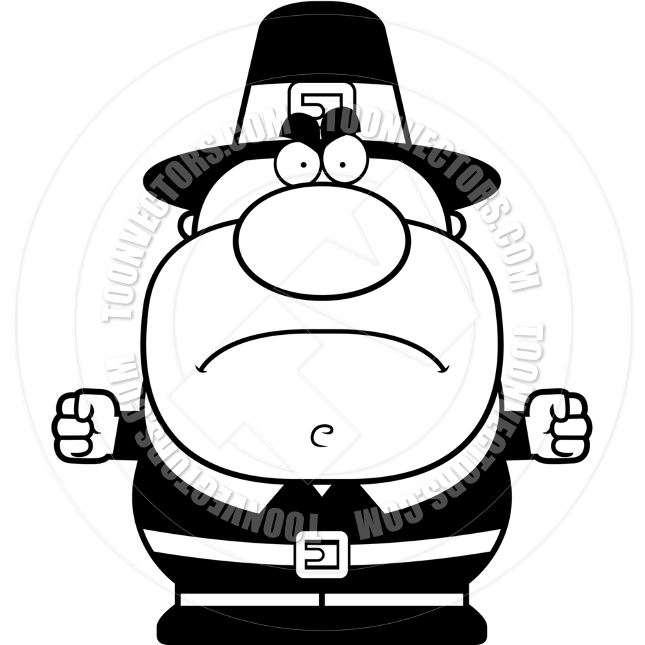 940x940 Cartoon Pilgrim Man Angry (Black And White Line Art) By Cory
