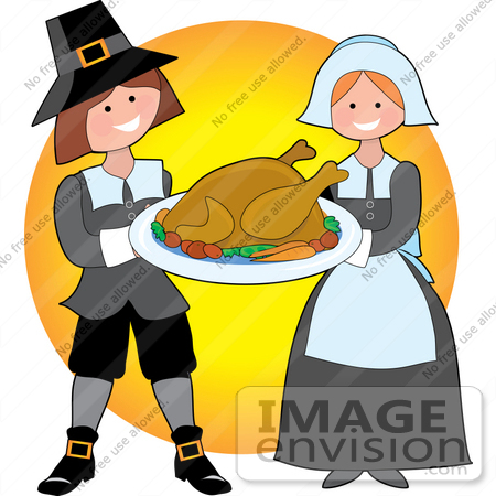 450x450 Clip Art Graphic Of A Generous Pilgrim Couple Serving Cooked