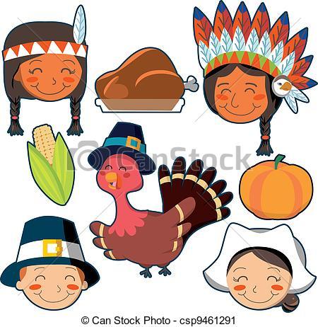 450x462 Cute Thanksgiving Indians Clipart