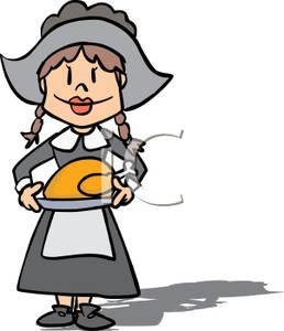 258x300 Image A Pilgrim Woman Holding A Thanksgiving Roast
