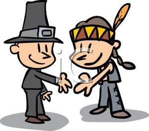 300x264 Picture A Pilgrim Man And An Indian Man Shaking Hands