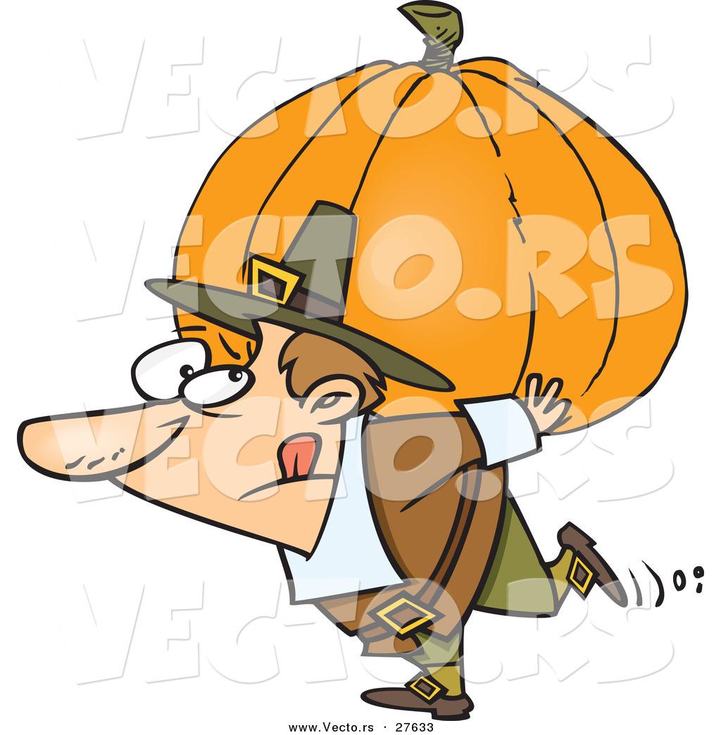 1024x1044 Vector Of A Cartoon Pilgrim Man Carrying Heavy Pumpkin On His Back