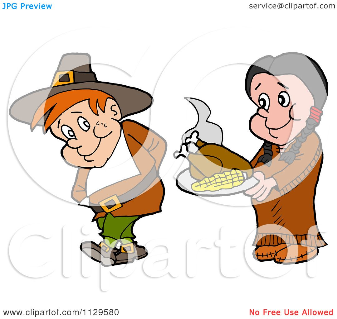 1080x1024 Cartoon Of A Native American Woman Serving A Pilgrim Thanksgiving