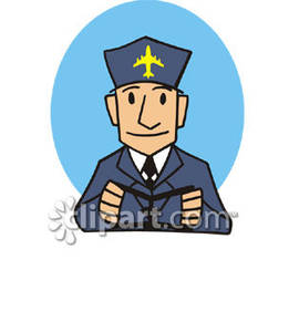 261x300 Airplane Pilot Holding Airplane Flight Control Wheel Royalty Free