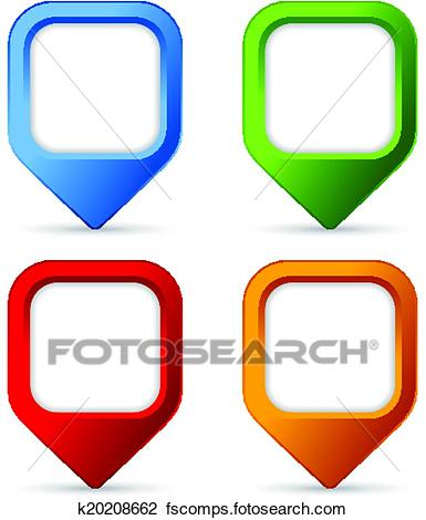 385x470 Clipart Of Square Pin Buttons K20208662