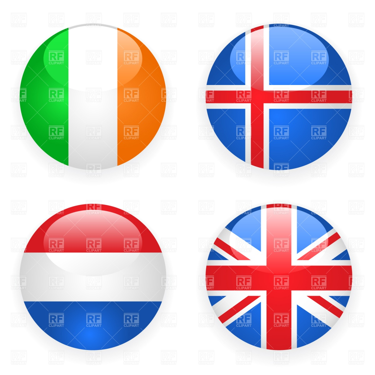1200x1200 Ireland, Iceland, Great Britain And Netherlands Button Flags