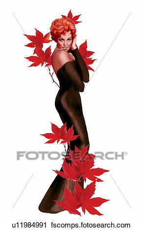 292x470 Clipart Of Pinup Girl In Black Dress With Red Leaves U11984991