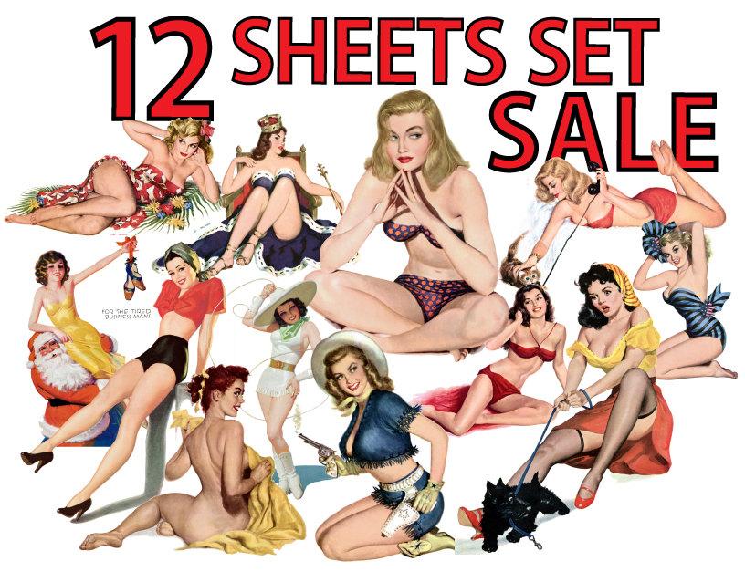 816x638 Pin Up Girls Vol.3 Clip Art Set Of 12 Digital Collage Sheets