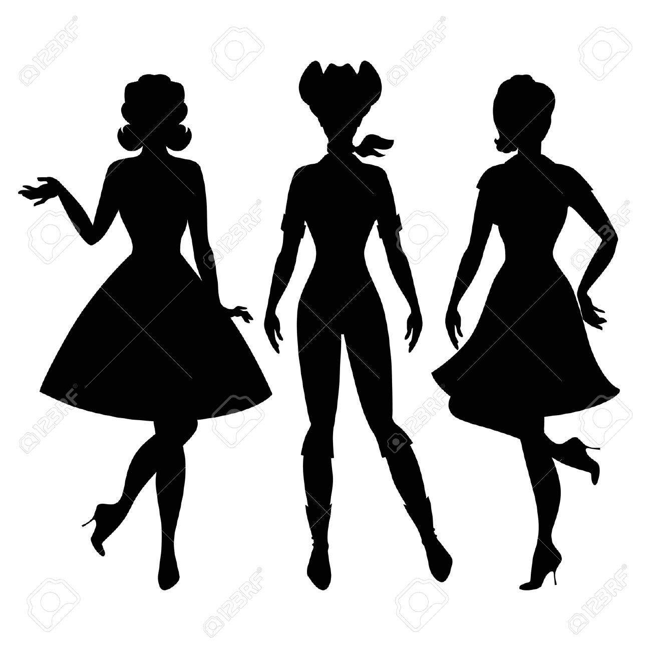 1300x1300 Silhouettes Of Beautiful Pin Up Girls 1950s Style. Royalty Free