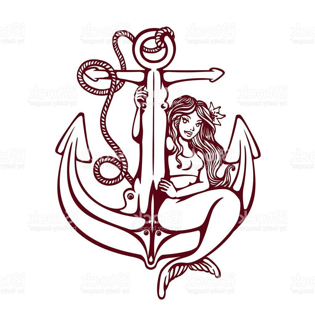 f45013a0a 1024x1024 Hd Siren Mermaid Pinup Girl On Anchor Oldschool Tattoo Vector