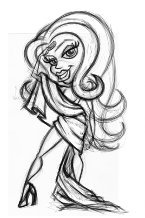 500x751 Liberty Girl Cartoon Character Pinup Sketch