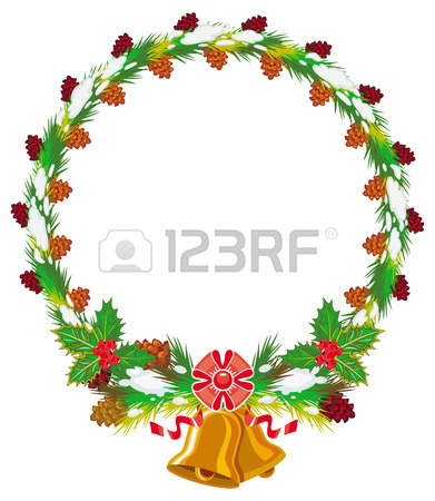 391x450 Holiday Round Garland Decorated With Pine Branch, Snow Flakes