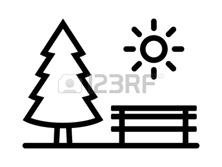 450x338 Park With Evergreen Pine Tree, Bench And Sun Line Art Vector