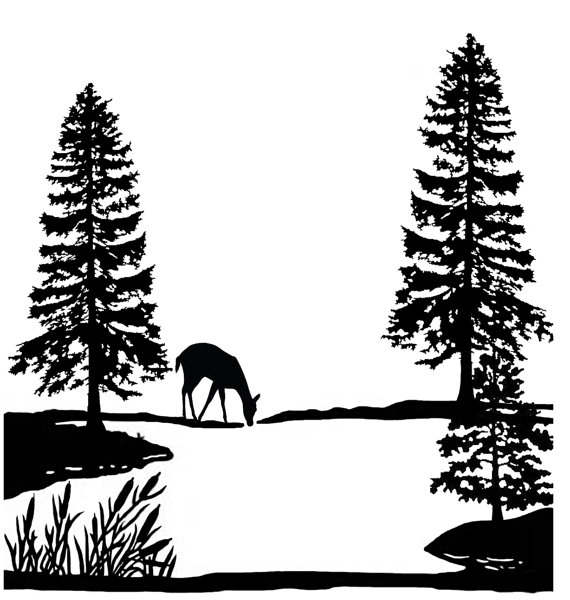 570x600 Tree Scene Clipart Black And White