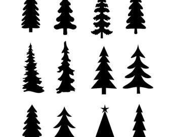 Pine Trees Silhouette on simple tattoo designs