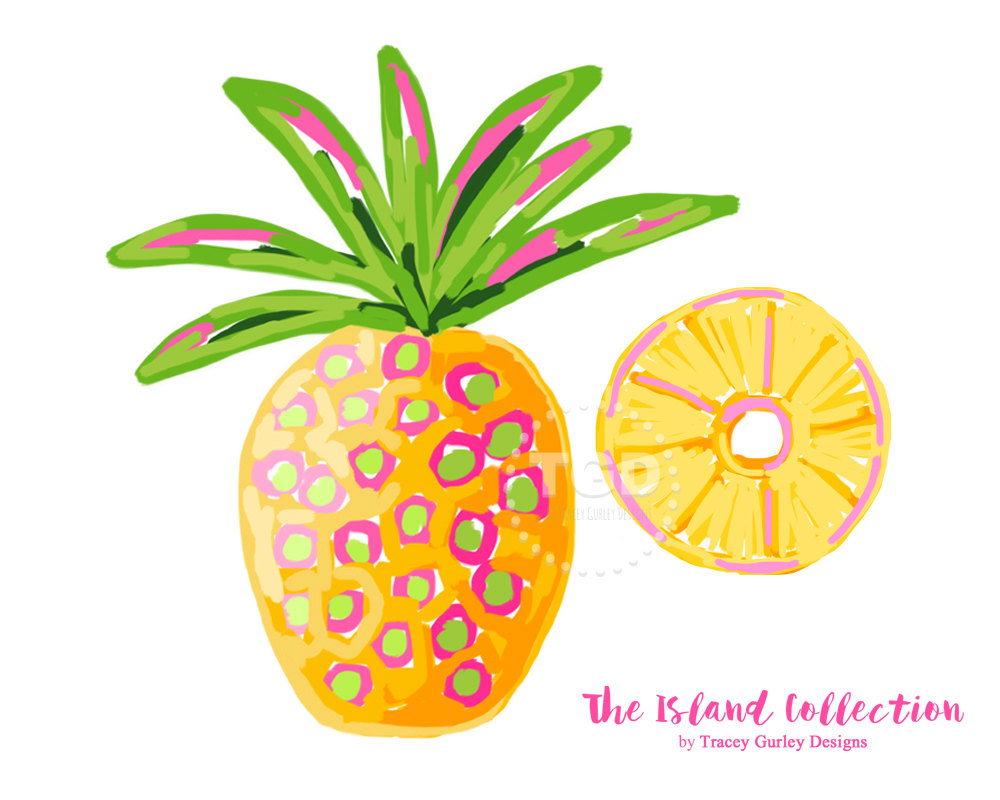 1000x800 Preppy Pineapple Clip Art Original Art Download Whimsical