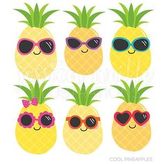 236x236 Cute Pineapples Clipart Set