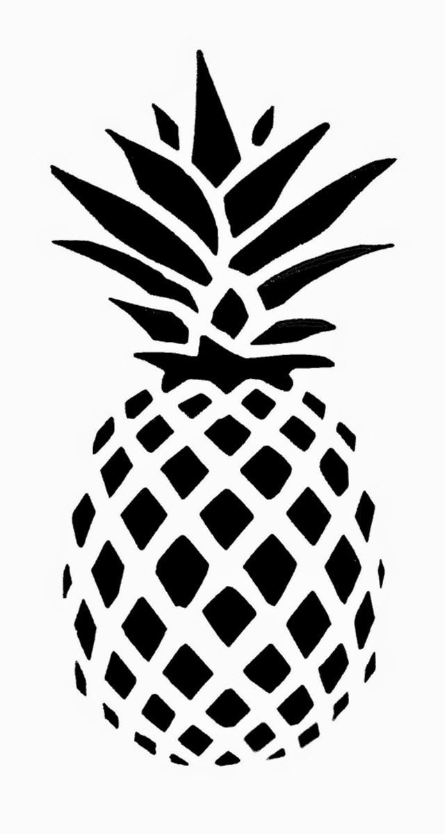 640x1200 Sweet Looking Pineapple Outline Black And White Image Of A Royalty
