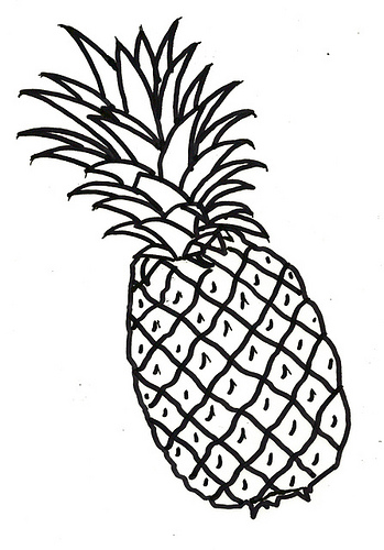 349x500 Unbelievable Pineapple Outline Clipart Panda Free Images Drawing
