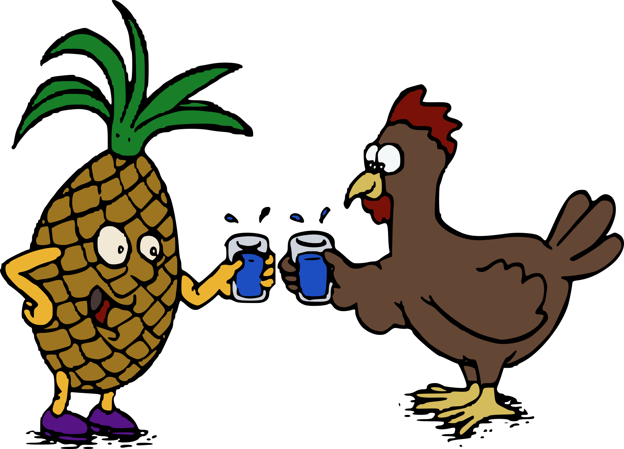 2000x1439 Free Pineapple And Chicken Clipart Clipart And Vector Image