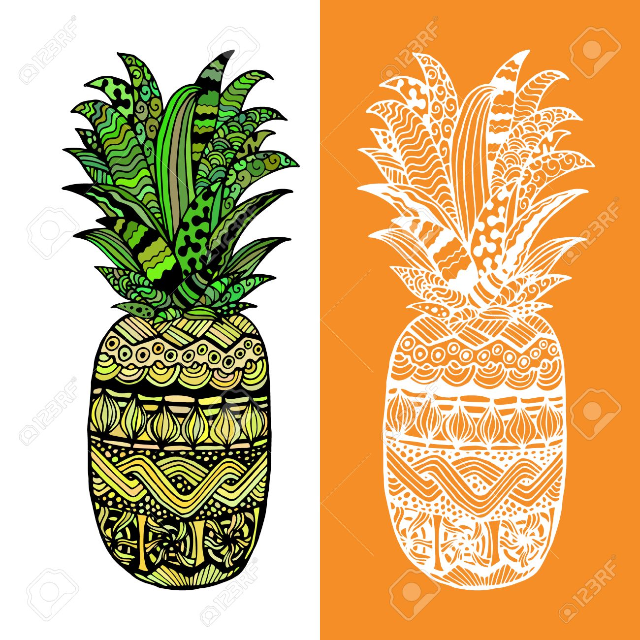 1300x1300 Hand Drawn Vector Pineapple. Black White Yellow And Green Graphic