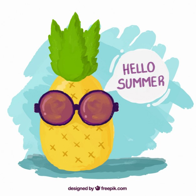 626x626 Hand Painted Cool Pineapple With Sunglasses Vector Free Download