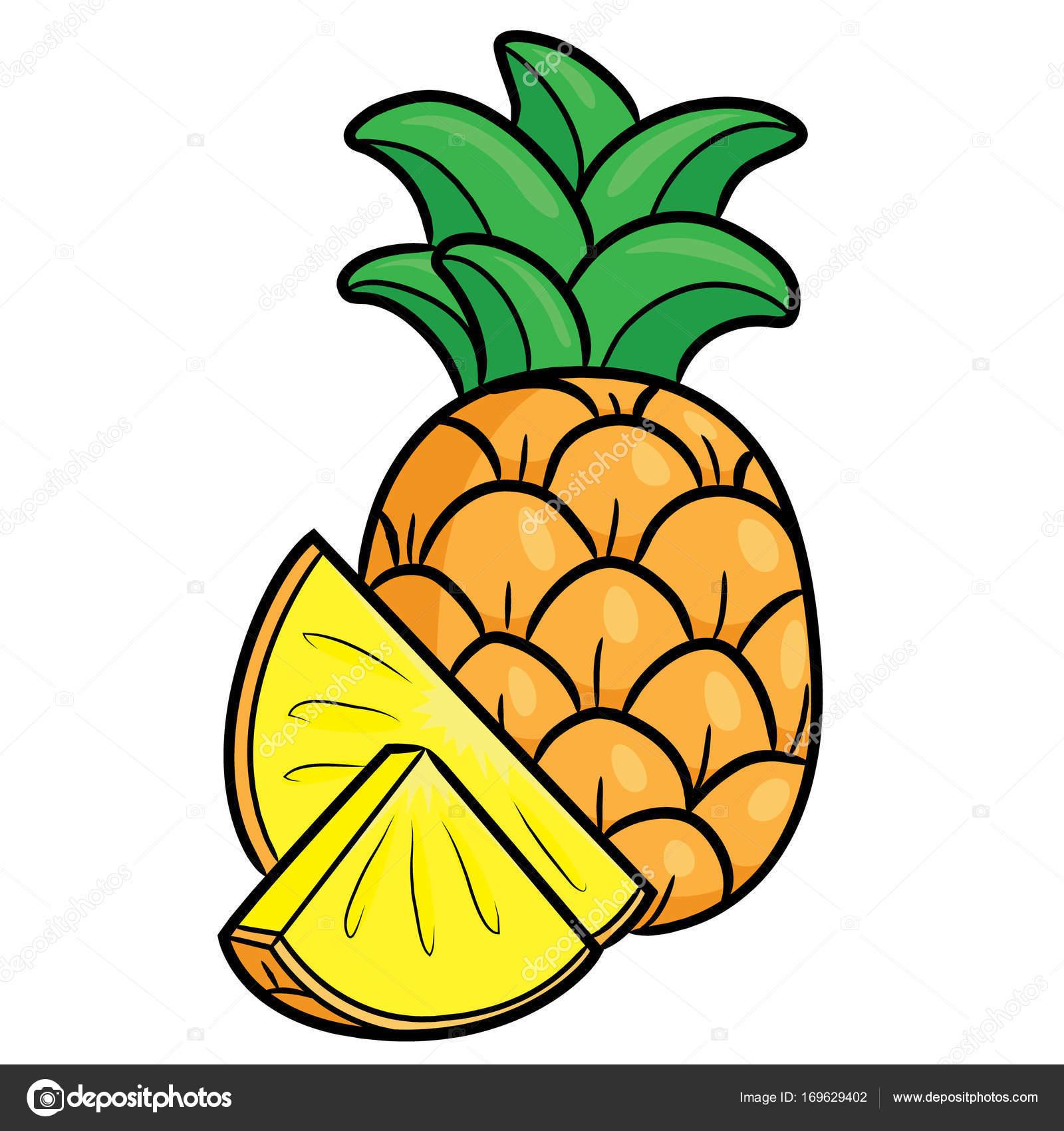 1600x1700 Pineapple Cute Cartoon Stock Vector Rubynurbaidi