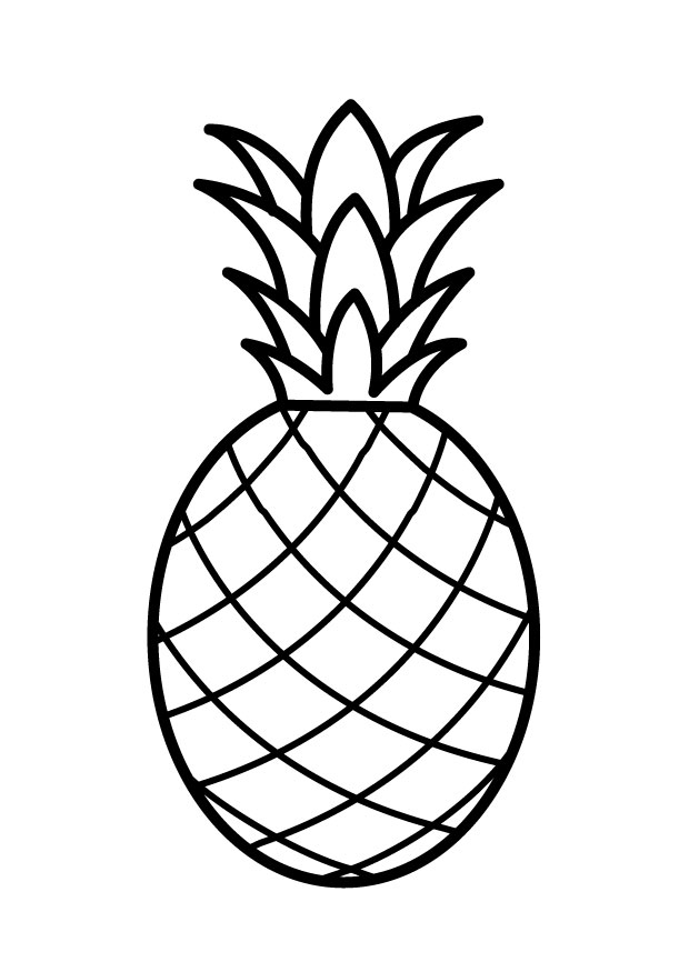 620x875 Pineapple Clipart Line Drawing