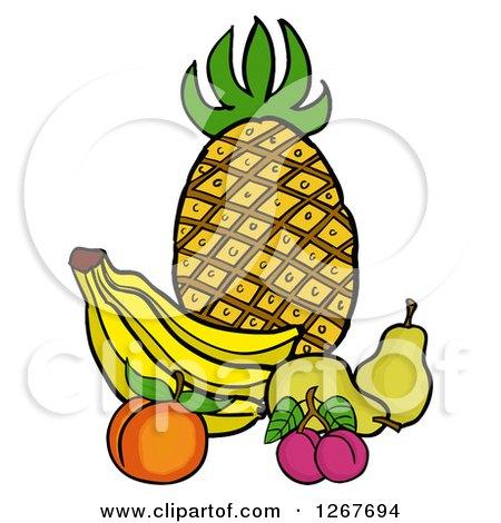 450x470 Clipart Fresh Whole Pineapple Against A Sun Burst