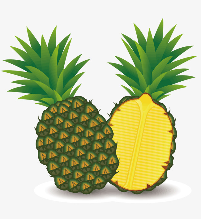 650x708 Two Cut Pineapples, Vector Diagram, Two Pineapples, Cut Open Png